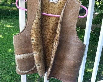 Vintage Ostranders sheepskin vest womens small  made in USA