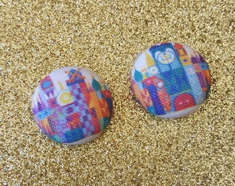It's a Small World Attraction Disney Inspired Fabric Covered Button Earrings for Women, Teens, Girls, Kids.