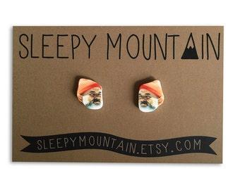 Steve Zissou Stud Earrings - Wes Anderson Bill Murray Earrings