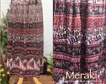 Indian Block Printed Long Cotton Skirt, Pixie Skirt