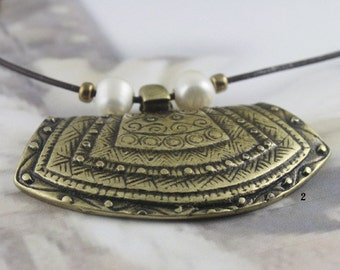 Leather Necklace Carved Pendant - Antique Brass