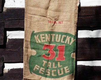 Burlap Sack, Vintage Kentucky Tall Fescue Grass; Rustic Farm Cottage Decor