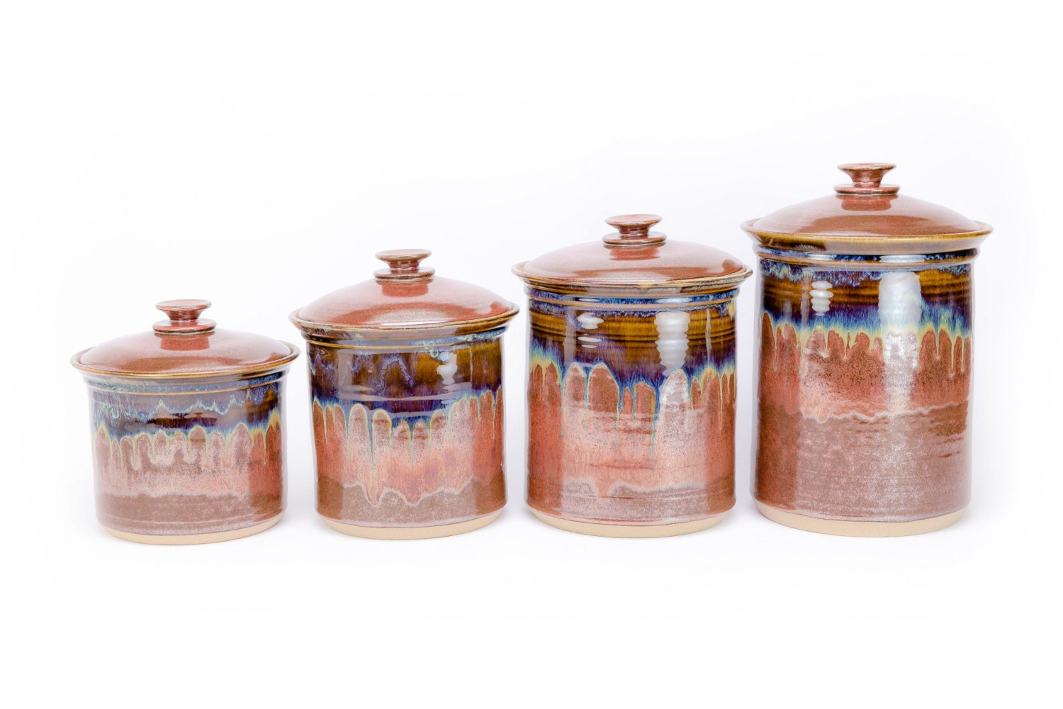 pottery kitchen canister sets 4 piece hand thrown pottery canister set in rustic glaze 635