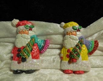 Hand Painted Ceramic Santa with Christmas Tree Refrigerator Magnets, Santa Magnets, Ceramic Magnets