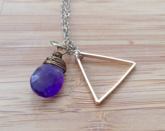 Purple amethyst protector energy healing yoga boho necklace