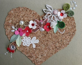 Quilled Valentines Day, All Occasion, Wedding, Anniversary on Cork Board with Pearls Gold Background