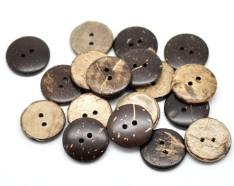 100 pcs Coconut Buttons- 20mm (3/4 in) - 2 holes - Brown