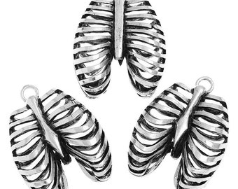 3pcs. Antique Silver Anatomical Organ Ribs Rib Cage Medical Charms Pendants - 40mm X 30mm - 1.57 in x 1.18 in - Anatomically Correct!