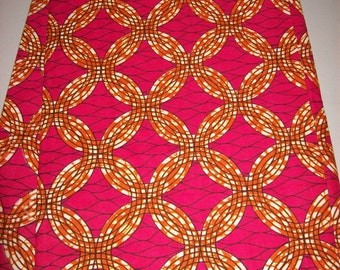 Holland Supreme African fabric by the yard/ pink, orange wax print/ Holland wax prints/ Supreme Holland fabrics