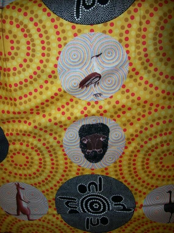 Per Yard Aboriginal Fabric 100 Cotton Yellow Bush Tucker