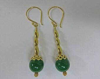 Jade Earrings - Gold and Natural Jade Ball Dangle Earrings - Jade Dangling Earrings - Dangle Earrings