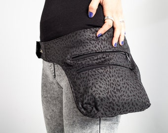 Leopard Fanny Pack/Messenger Bag/Cotton Small Messenger/Bicycle Ride/Urban Cycling