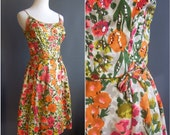 1950s sequin cotton floral dress spaghetti strap dress sequined sundress great for weddings 50s dress 1950s dress 50s floral 1950s floral