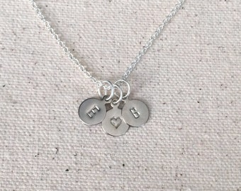 """8mm or 10mm Tiny Hand Stamped Initial Charm Necklace in Silver brass / Personalized Your choice of charms & letters / on 16"""" or 18"""" Chain"""