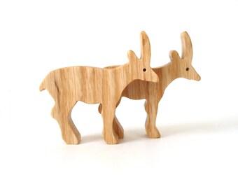 Oryx Antelope Wood Toy Miniature Noah's Ark Animals Wooden African Animal Toys Zoo Play Set Wooden Oryx Figurine