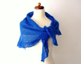 blue shawl with ruffle, handknit wrap, shimmering scarf