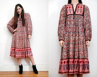 Vintage Indian Cotton Boho Dress Hippie Dress Ethnic Floral Cotton Dress 70's