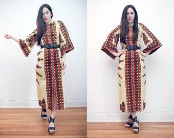 Vintage Batik Hippie Angel Sleeve Kimono Kaftan Boho Maxi Dress 70's
