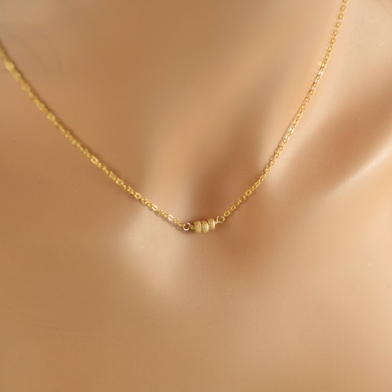 Gold Choker Necklace, Simple Jewelry, Gold Filled Chain, Stardust Beads, Layering Necklace, Free Shipping