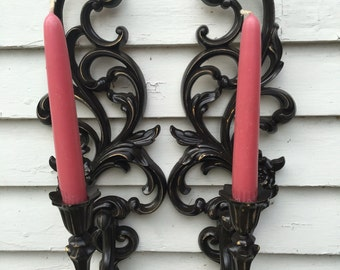 Vintage Pair of Ornate Black Very Brown Syroco Candle Sconces Chippy Gold Showing Through
