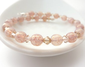 Pink Beaded Bracelet - Gift for Her - Pink Jewellery - Pink Bead Bracelet - Dainty Bracelet - Glass Beads