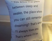 Boyfriend gift, long distance boyfriend gift, Peter Pan pillow, girlfriend throw pillow, cotton canvas cushion,  JM Barrie quote home decor