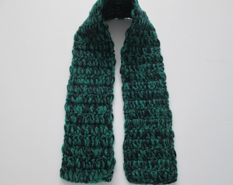 """Emerald and navy cashmere scarf scarflet neck warmer- 31"""" long"""