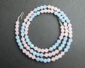 Pink and blue jade necklace or triple wrap bracelet- Preemie Awareness