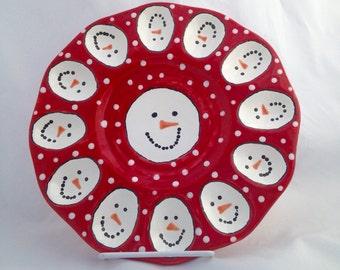Snowman Deviled Egg Plate - Ceramic Egg Platter - Egg Serving Tray