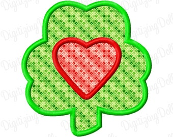 Digitizing Dolls Shamrock Heart Applique Machine Embroidery Design  4x4 5x7 6x10 clover love INSTANT DOWNLOAD
