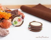 brown mini embroidery hoop 1 inch tiny miniature decorative earring pack