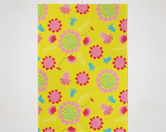 Colourful Botanical Yellow Tea Towel With Floral Design.