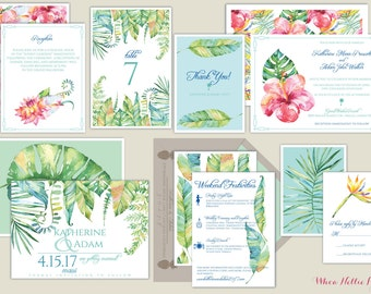 Hawaii/Maui/Tropical Watercolor Botanical Wedding Invitations-Hibiscus/Birds of Paradise/Foliage