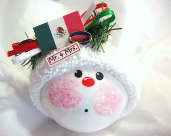 Mexico Wedding Gift Ornaments Mexican Flag Ring Personalized Christmas Hand Painted Handmade Themed Townsend Custom Gifts
