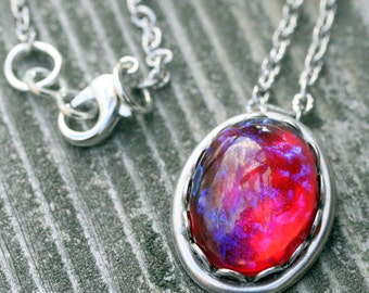 Fire Opal Necklace Dragons Breath  Necklace Pendant Mexican Opal Silver Ox Necklace Silver Vintage Glass Fire Opal Gift Christmas Wedding