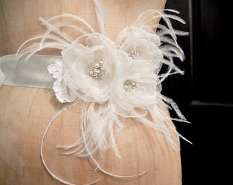 Bridal Organza Flower Belt Sash wiht Feather