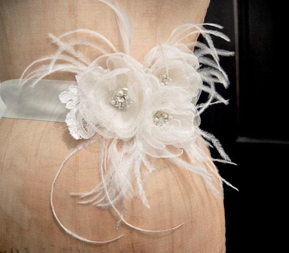 Bridal Organza Flower Belt Sash wiht Feather