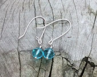 Small Blue Crystal Drop Earrings, blue raindrop earrings, blue crystal bride earrings, blue droplet earrings, wedding jewelry, blue bridal