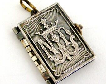 Antique art nouveau silver plated Notre Dame de Lourdes souvenir book locket, perfect condition