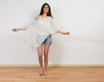 Hand died poncho, tie dye poncho in pastels colors
