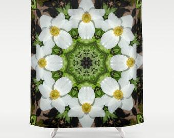 Mandala shower curtain, Green and white floral kaleidoscope, nature photograph, Anemone flower, floral  home decor garden, bathroom decor