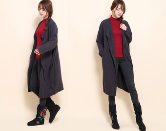 Flower Bud Asymmetrical Linen Long Jacket/ 10 Colors/ RAMIES