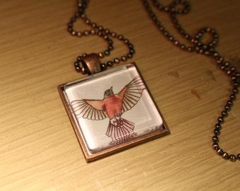 Robin Original Fine Art Print Necklace