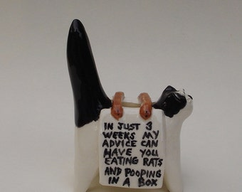 Puff's Financial Planning Service, mini cat sculpture