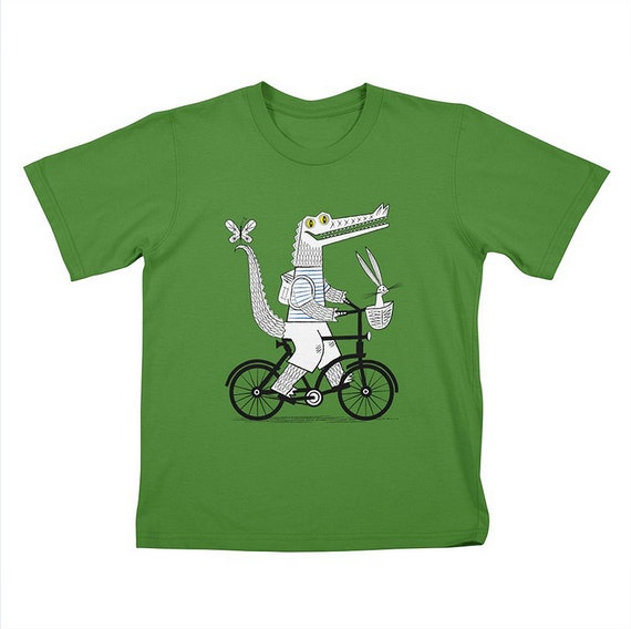 Childrens - T-shirt / Tee -  The Crococycle - Clover Green - Crocodile / Bicycle Tee - by Oliver Lake - iOTA iLLUSTRATION