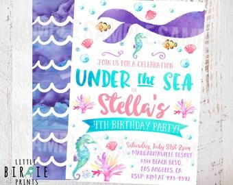 MERMAID BIRTHDAY INVITATION Mermaid invitation Watercolor Mermaid invitation Mermaid first birthday invitation Pool Party Under the Sea
