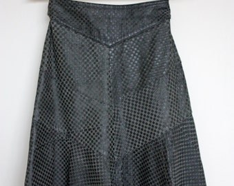 Vintage 1980s Grey Leather Knee Length Flared Skirt Size S/M