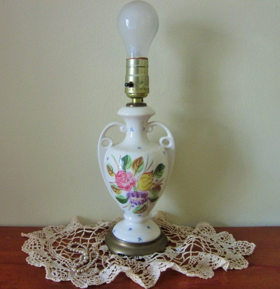 Vintage Bedroom Lamp Small Urn Lamp In Ivory With Brass Base