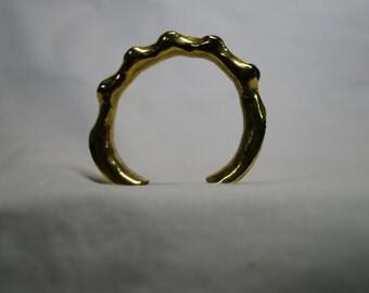 custom made brass bangled cuff with glass beads