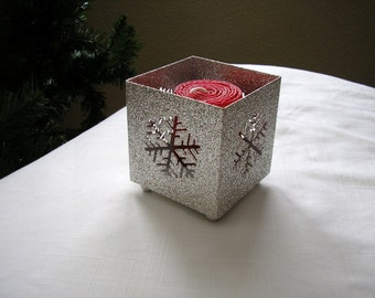 Red Beeswax Votive in a silvery candle holder